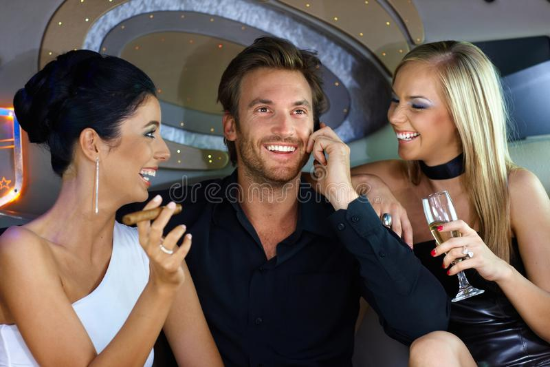 Happy People Having Fun In Luxury Car Royalty Free Stock Photography