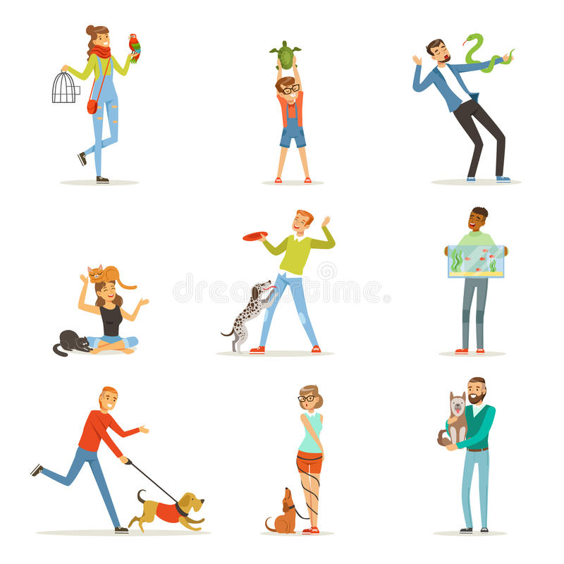 Happy people having fun with pets, man, women and kids training and playing vector illustration