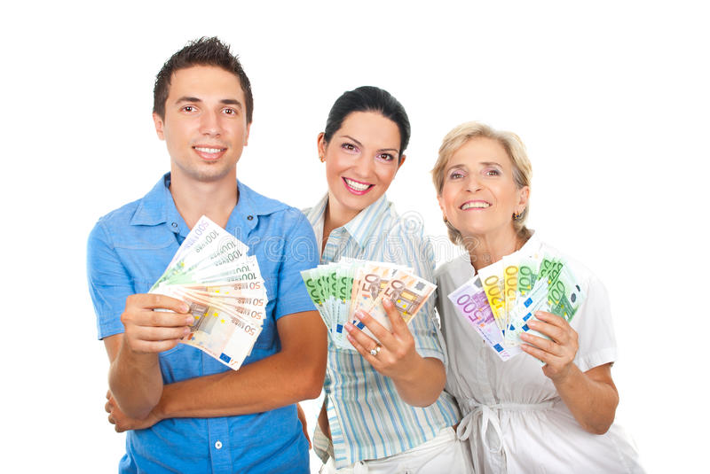 Happy people holding euro money royalty free stock photos