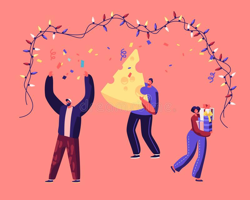 Happy People Holding Gift Box and Huge Piece of Cheese Dancing under Garland Celebrate 2020 New Year of Mouse stock illustration