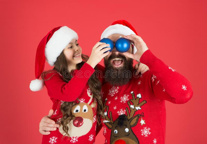Happy people. Holly jolly christmas. Inspired for celebration. Winter decorations concept. Christmas tradition. Father. Hug little daughter. Small child with stock photography