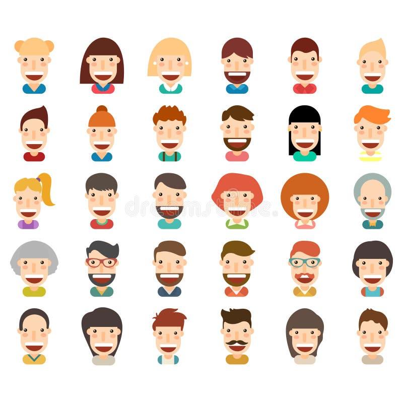 Happy people icon set vector illustration