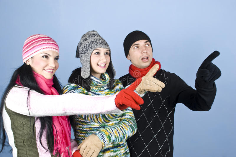 Happy people indicate up with fingers stock photos