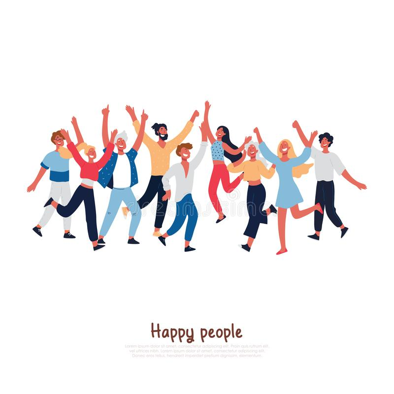 Happy people with joyful gesturing, smiling adults, excited young boys, girls jumping, music festival visitors dancing stock illustration