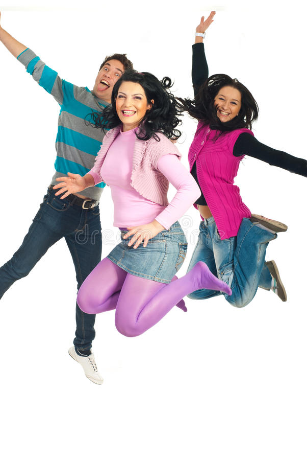 Happy people jumping royalty free stock image
