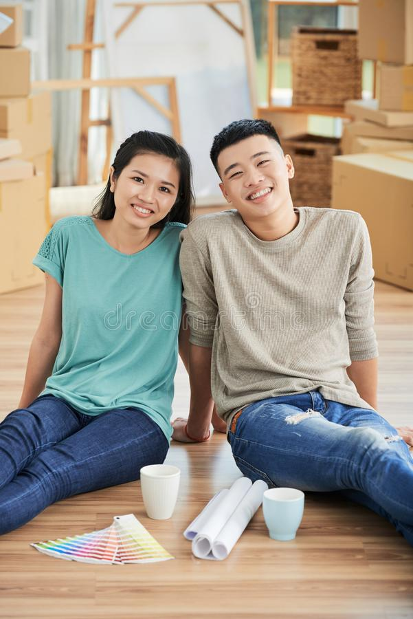 Happy people just moved in stock photography