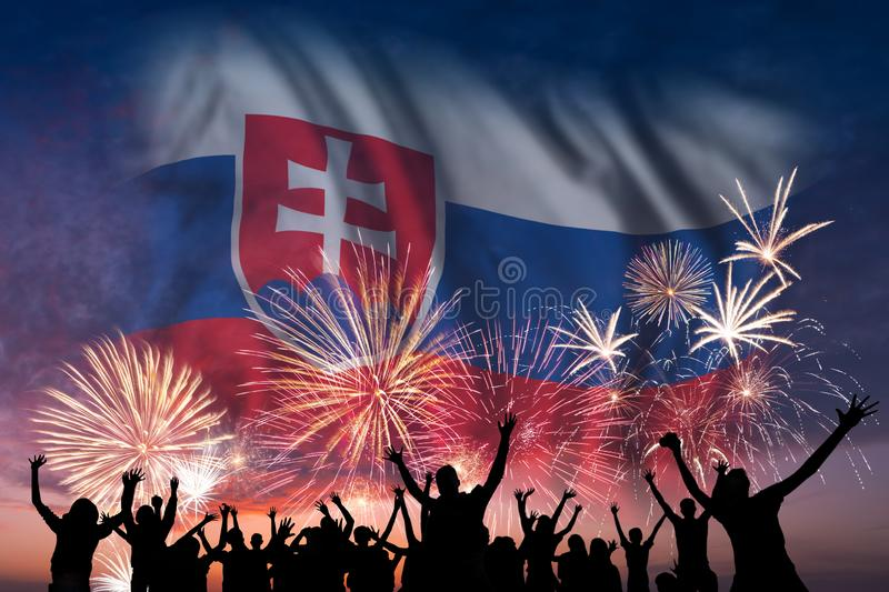 People are looking on fireworks and flag of Slovakia vector illustration