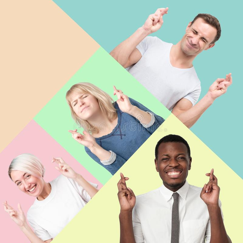Happy people rejoice that dreams came true. Collage of men and women crossing fingers, closes anticipate hearing good news Happy people rejoice that dreams came royalty free stock photos