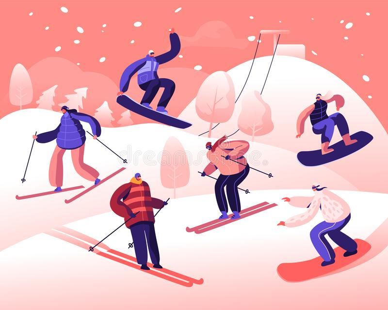 Happy People Riding Snowboard and Skis by Snow Slopes. Winter Time Season Holidays. Sportswomen Having Fun on Ski royalty free illustration