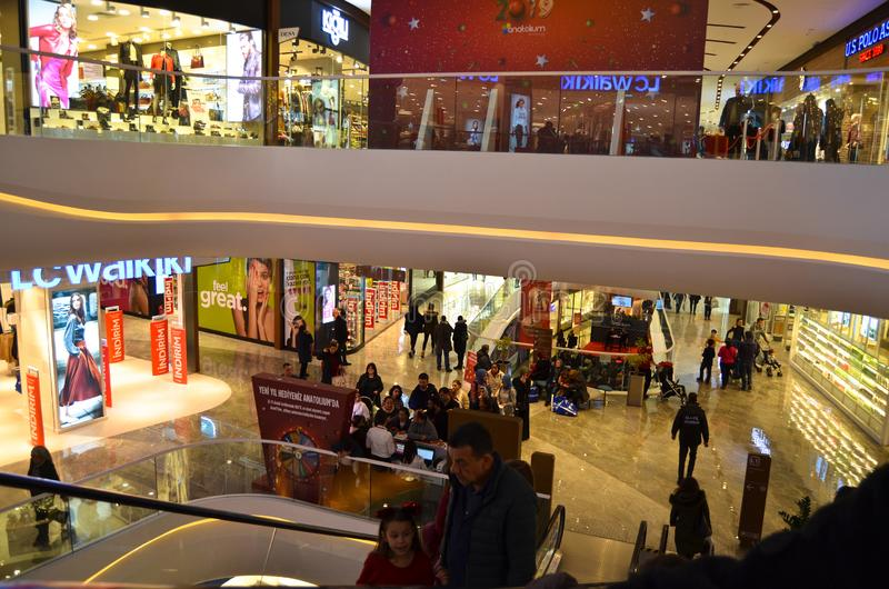 Happy people shopping in Anatolium Shopping Store royalty free stock photography