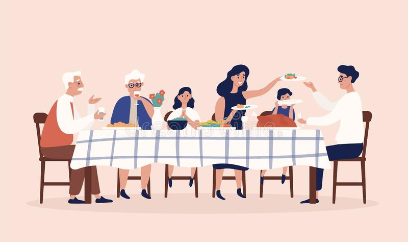 Happy people sitting at table, eating holiday meals, drinking wine and talking to each other. Family Christmas or royalty free illustration