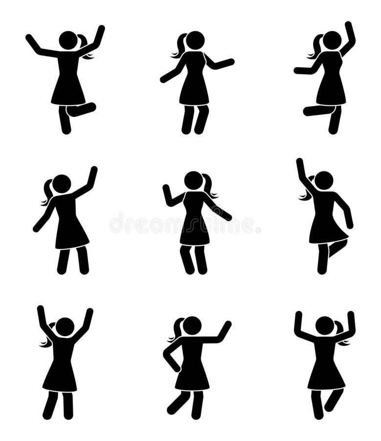 Happy people stick figure icon set. Woman in different poses celebrating pictogram. Happy people stick figure icon set. Woman in different poses celebrating vector illustration