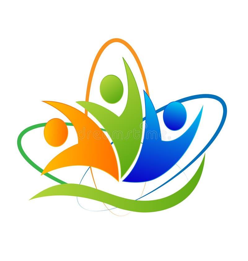 Happy people success logo. Happy people success application vector concept stock illustration