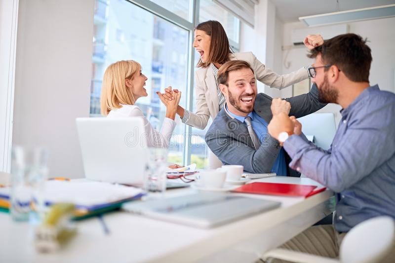 People successfully completed business meeting. Happy people successfully completed business meeting stock photo