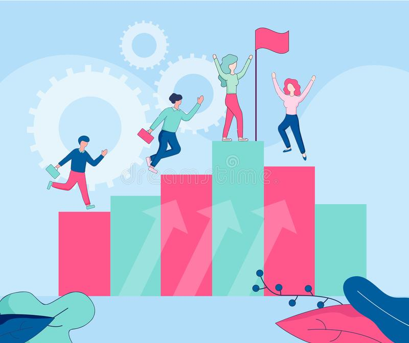 Happy People on Top of Huge Column Arrow Chart. royalty free illustration