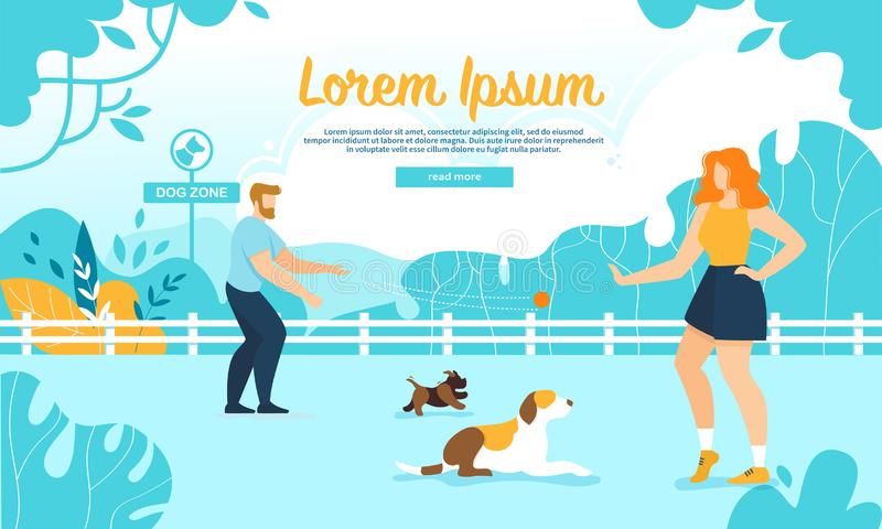 Happy People Training Dogs in City Park, Dog Zone vector illustration