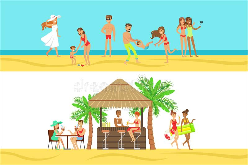 Happy People On Tropical Beach Vacation In Hawaii Having Drink At Beach Bar And Staying Next To Sea. Smiling Cartoon Characters Having Holidays In Warm Country vector illustration