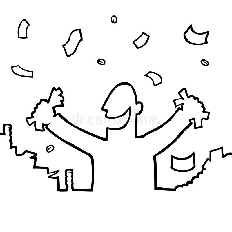 Happy person with lots of money vector illustration
