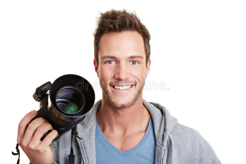 Happy photographer holding digital royalty free stock images