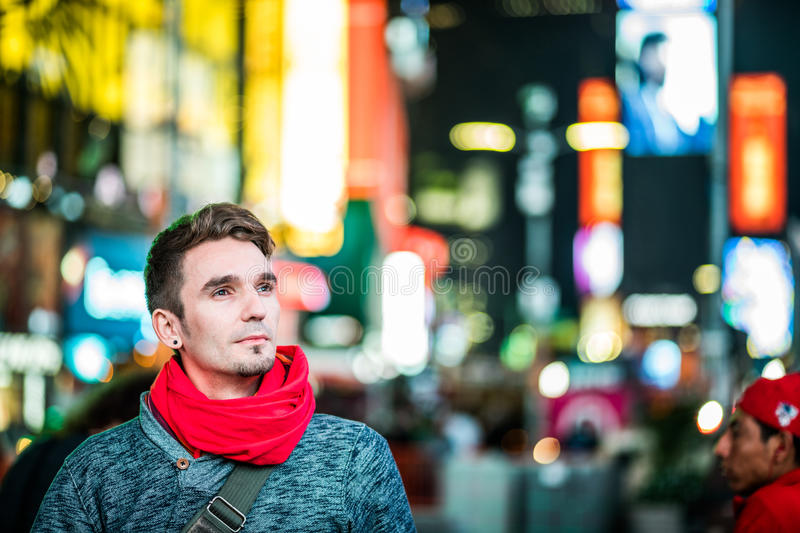 Happy Photographer Visiting Time Square in New York and Looking stock image