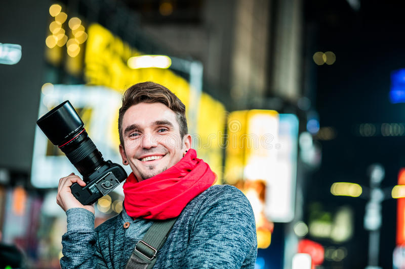 Happy Photographer Visiting Time Square in New York and Looking royalty free stock photos