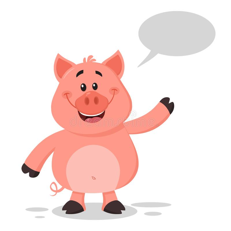 Happy Pig Cartoon Character Waving For Greeting Vector Illustration illustration libre de droits