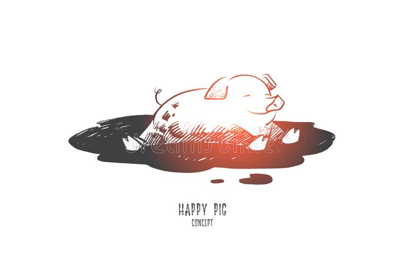Happy pig concept. Hand drawn isolated vector. royalty free illustration
