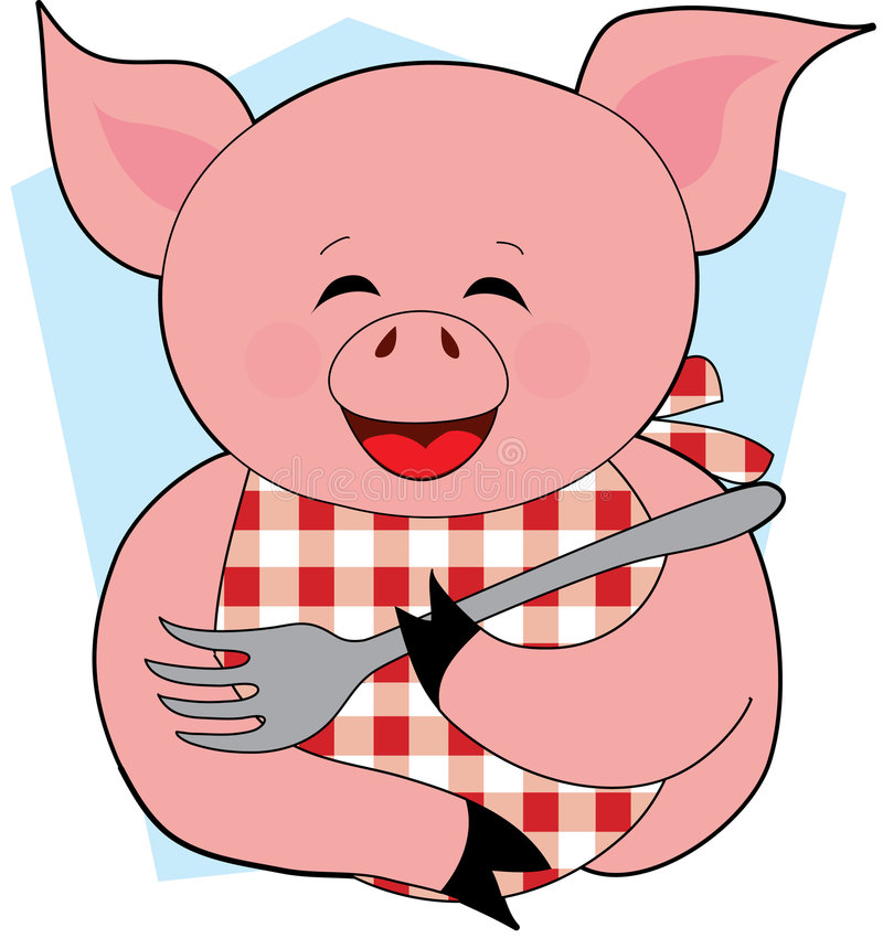 Happy Pig Eating. A Happy Pig holding a Fork with a Bib royalty free illustration