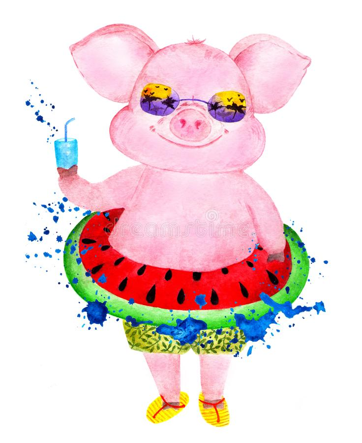 Happy pig enjoys life. Watercolor illustration. royalty free stock photos
