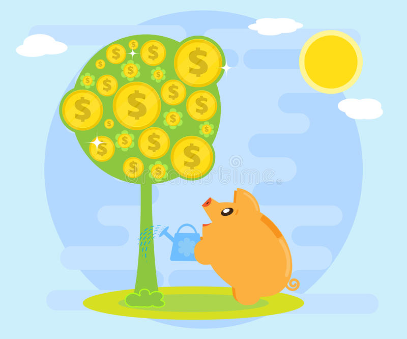 Happy pig piggy bank watering money tree. Symbol of wealth. Creating wealth through investment and cash flow. Flat style royalty free illustration