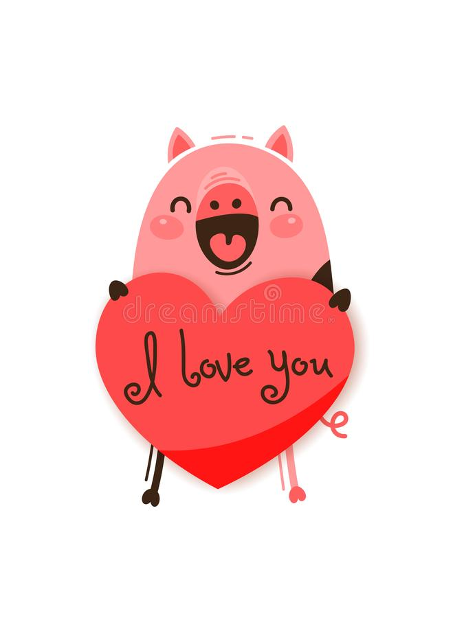 A happy pig with a valentine and message I love you. Vector illustration in cartoon style.  stock illustration