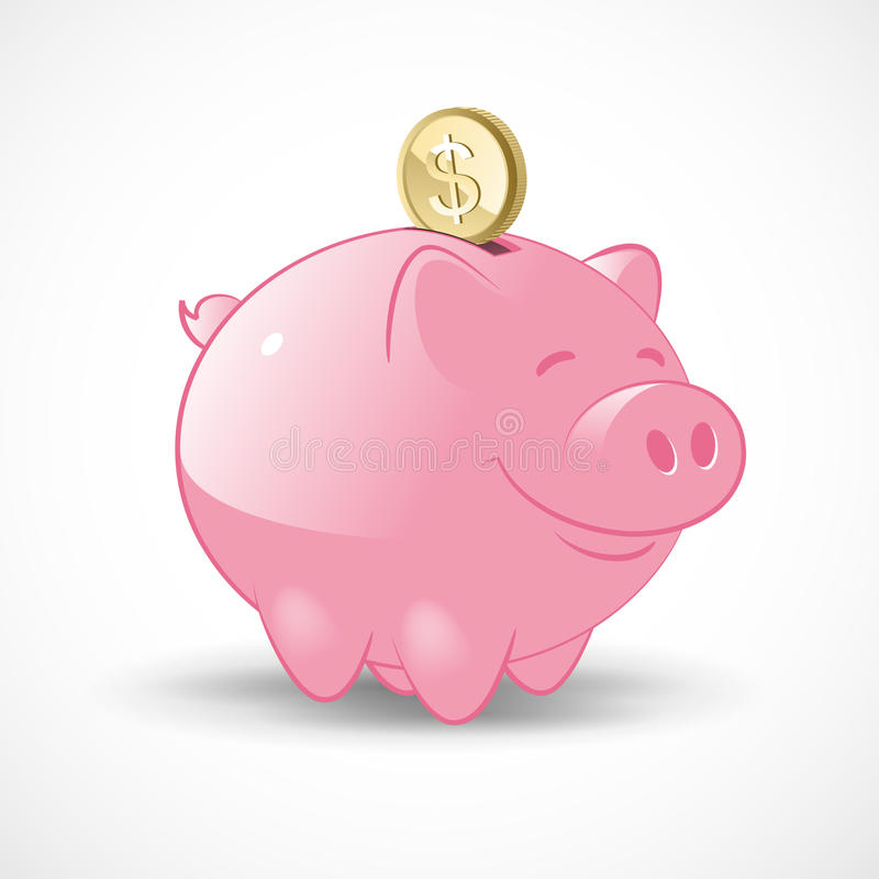 Happy Piggy Bank. Illustration of a Happy Pink Piggy Bank with a golden dollar coin