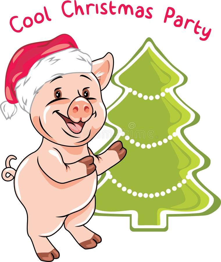 Happy piggy invites to the Christmas party stock images