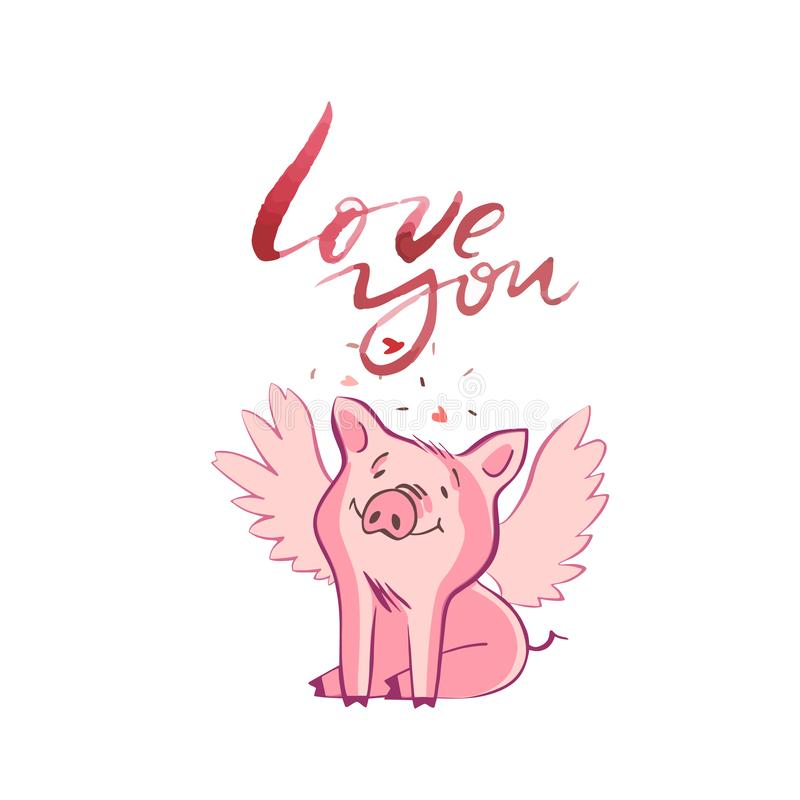 Happy pigs with love letters, presents for Valentine s day on white background. Happy pigs with love letters, presents for Valentine s day on white background royalty free illustration