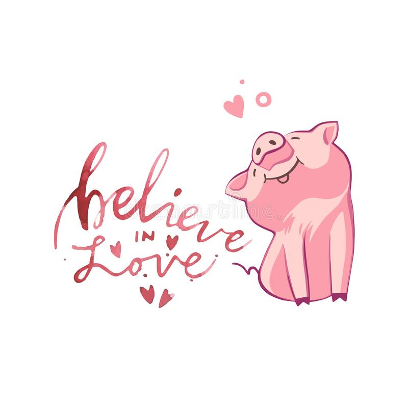 Happy pigs with love letters, presents for Valentine s day on white background. Happy pigs with love letters, presents for Valentine s day on white background vector illustration