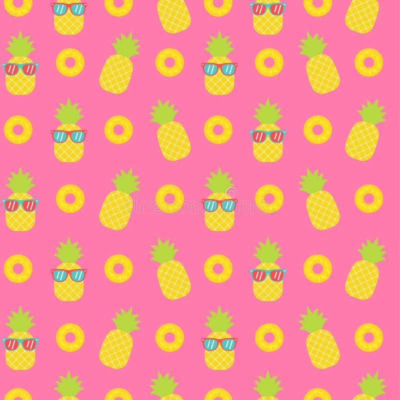 Happy pineapple seamless pattern vector illustration