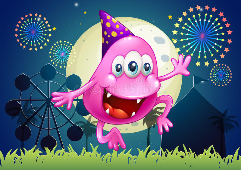 Download A Happy Pink Beanie Monster At The Carnival Stock Vector - Image: 35321922