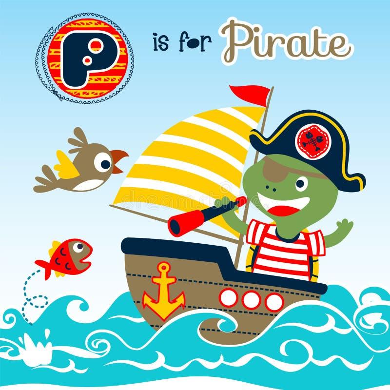 Happy pirate cartoon on sailboat royalty free illustration