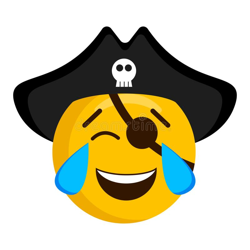 Happy pirate emoji with a hat stock illustration