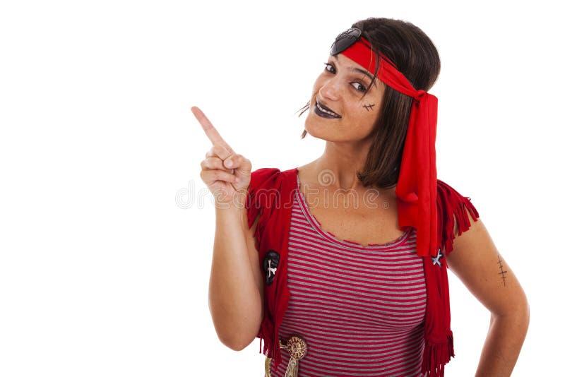 Happy pirate girl stock photo