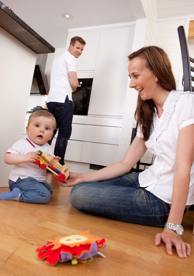 Happy Playing Family stock photo