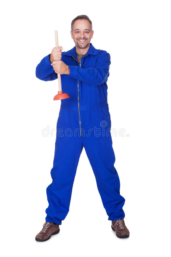 Happy Plumber Holding Plunger. On White Background stock image