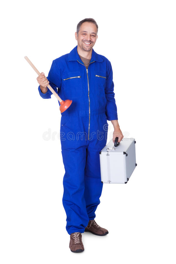Happy Plumber Holding Plunger. On White Background royalty free stock photos