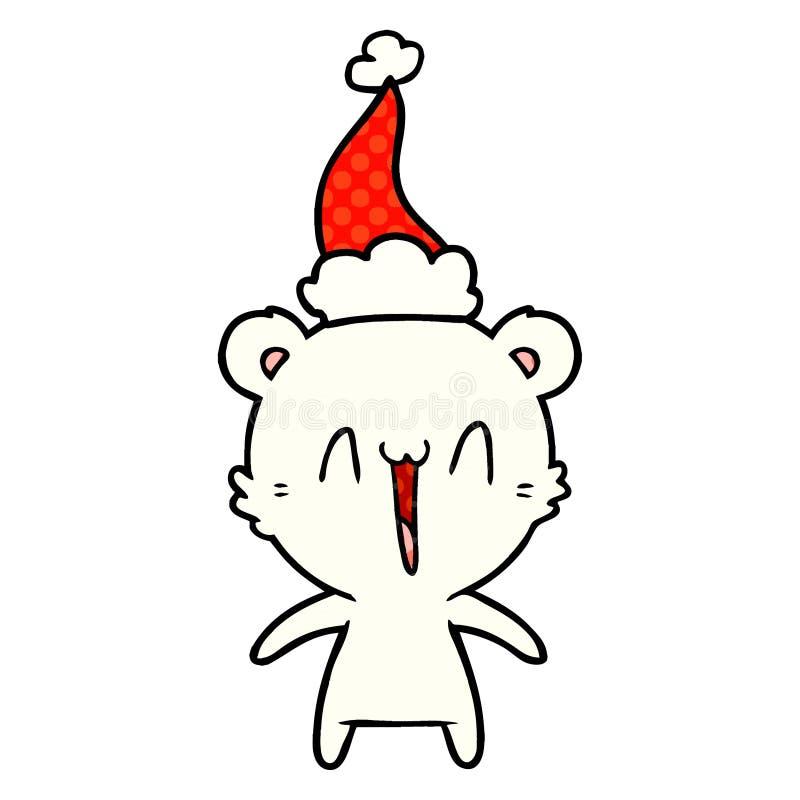 Happy polar bear comic book style illustration of a wearing santa hat. A creative illustrated happy polar bear comic book style illustration of a wearing santa stock illustration