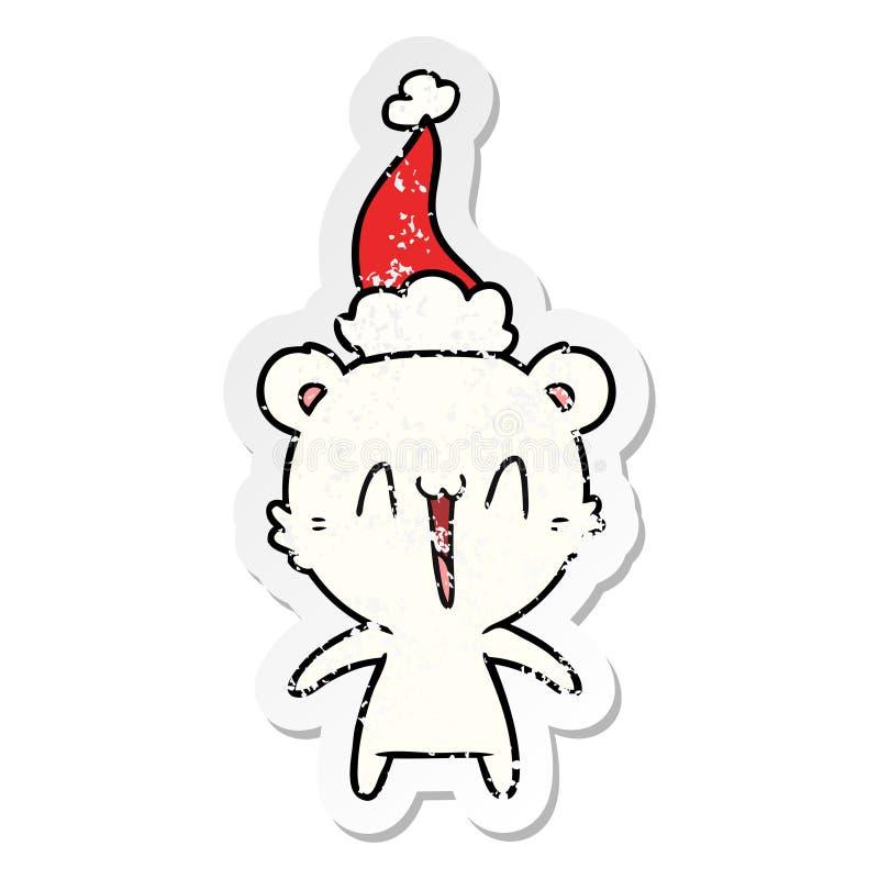 Happy polar bear hand drawn distressed sticker cartoon of a wearing santa hat. A creative happy polar bear distressed sticker cartoon of a wearing santa hat royalty free illustration