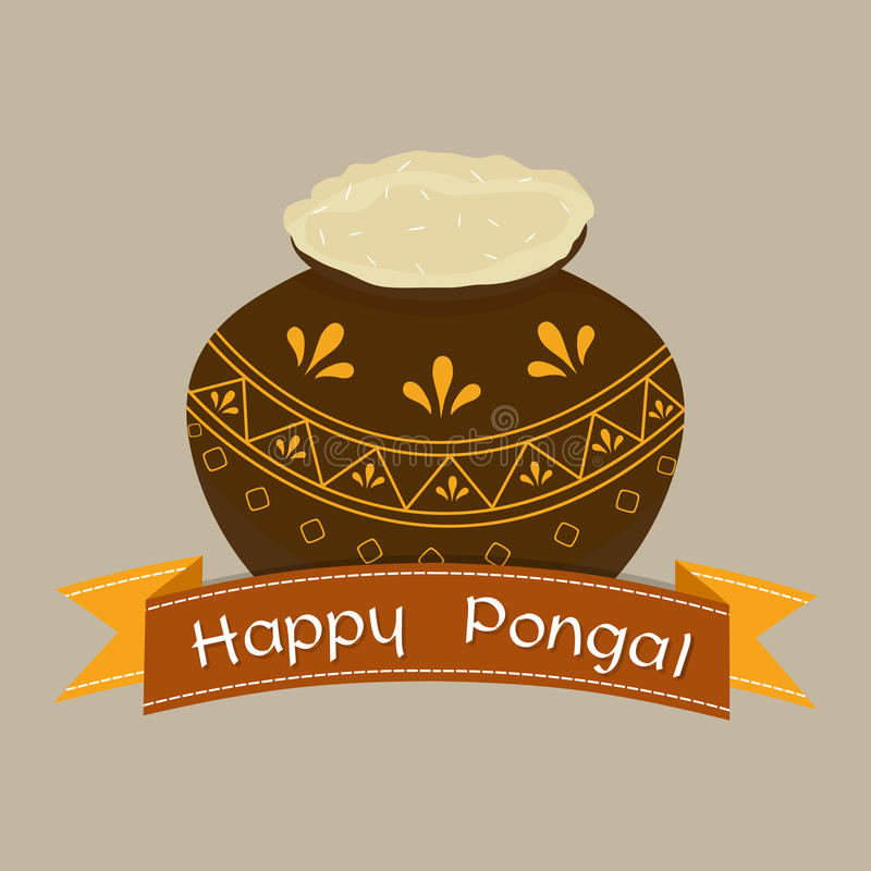 Happy Pongal festival celebrations with traditional mud pot. Floral decorated traditional mud pot with rice on grey background for Happy Pongal, harvesting vector illustration