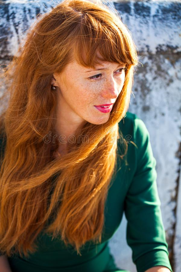 Happy Portrait red-haired woman. Close up portrait red-haired woman stock images