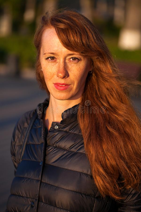 Happy Portrait red-haired woman. Close up portrait red-haired woman stock photos