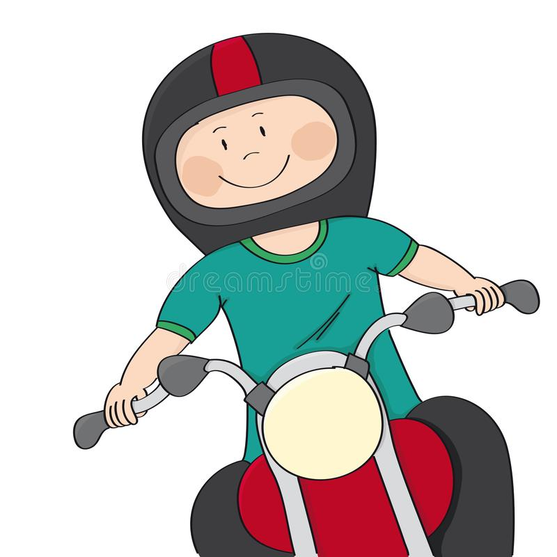 Smiling happy biker riding a bike - original hand drawn funny cartoon illustration. Happy and positive biker riding a bike, smiling happily. Original hand drawn stock illustration