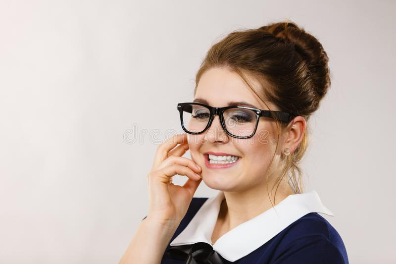 Happy positive business woman, accountant royalty free stock image